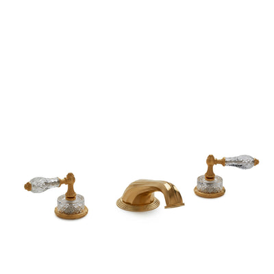 0914DKT818-CTCR-GP Sherle Wagner International Cut Crystal Empire Lever Deck Mount Tub Set in Gold Plate metal finish
