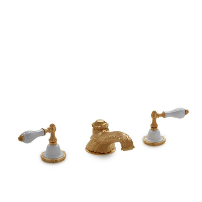 0914DKT819-04WH-GP Sherle Wagner International Provence Ceramic Empire Lever Deck Mount Tub Set in Gold Plate metal finish with White Glaze inserts