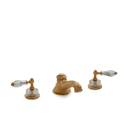 0914DKT819-CTCR-GP Sherle Wagner International Cut Crystal Empire Lever Deck Mount Tub Set in Gold Plate metal finish