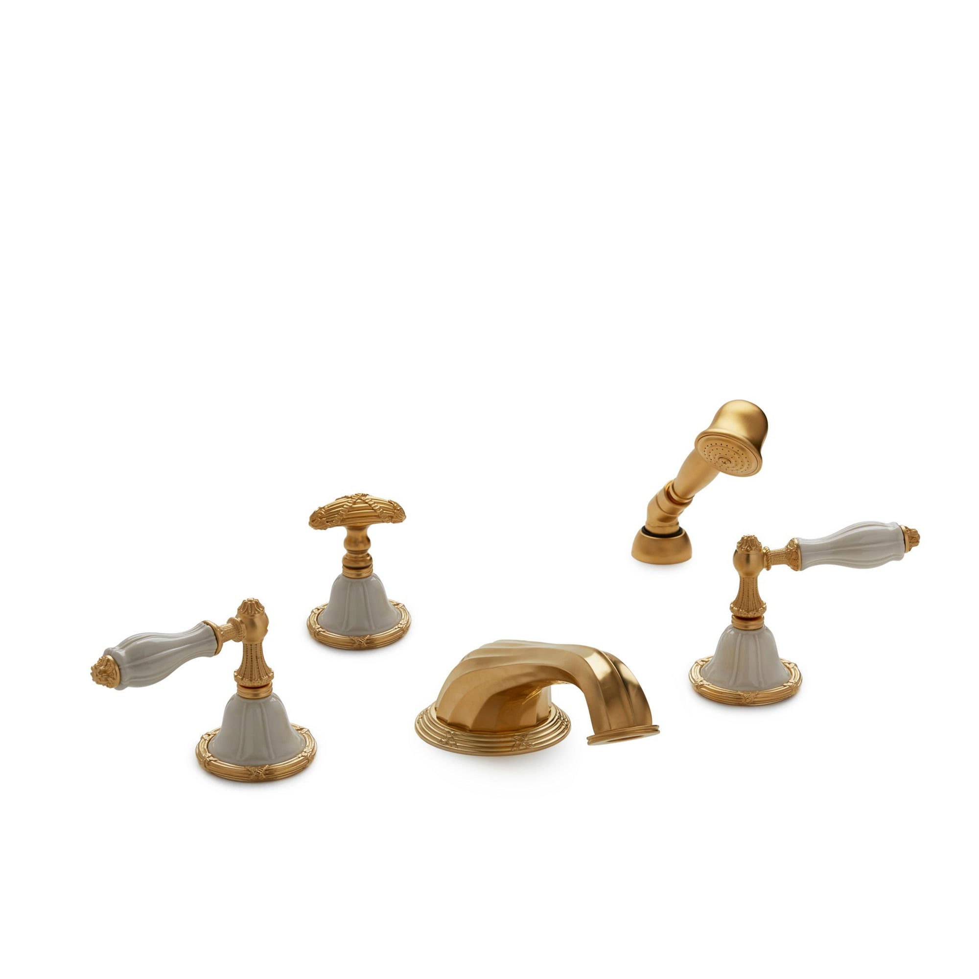 0914DTS818-03SD-GP Sherle Wagner International Scalloped Ceramic Empire Lever Deck Mount Tub Set with Hand Shower in Gold Plate metal finish with Sand Glaze inserts