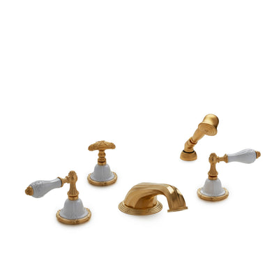 0914DTS818-04WH-GP Sherle Wagner International Provence Ceramic Empire Lever Deck Mount Tub Set with Hand Shower in Gold Plate metal finish with White Glaze inserts