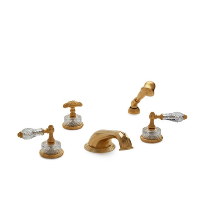 0914DTS818-CTCR-GP Sherle Wagner International Cut Crystal Empire Lever Deck Mount Tub Set with Hand Shower in Gold Plate metal finish