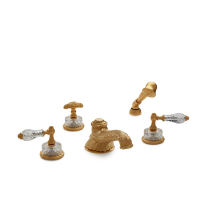0914DTS819-CTCR-GP Sherle Wagner International Cut Crystal Empire Lever Deck Mount Tub Set with Hand Shower in Gold Plate metal finish