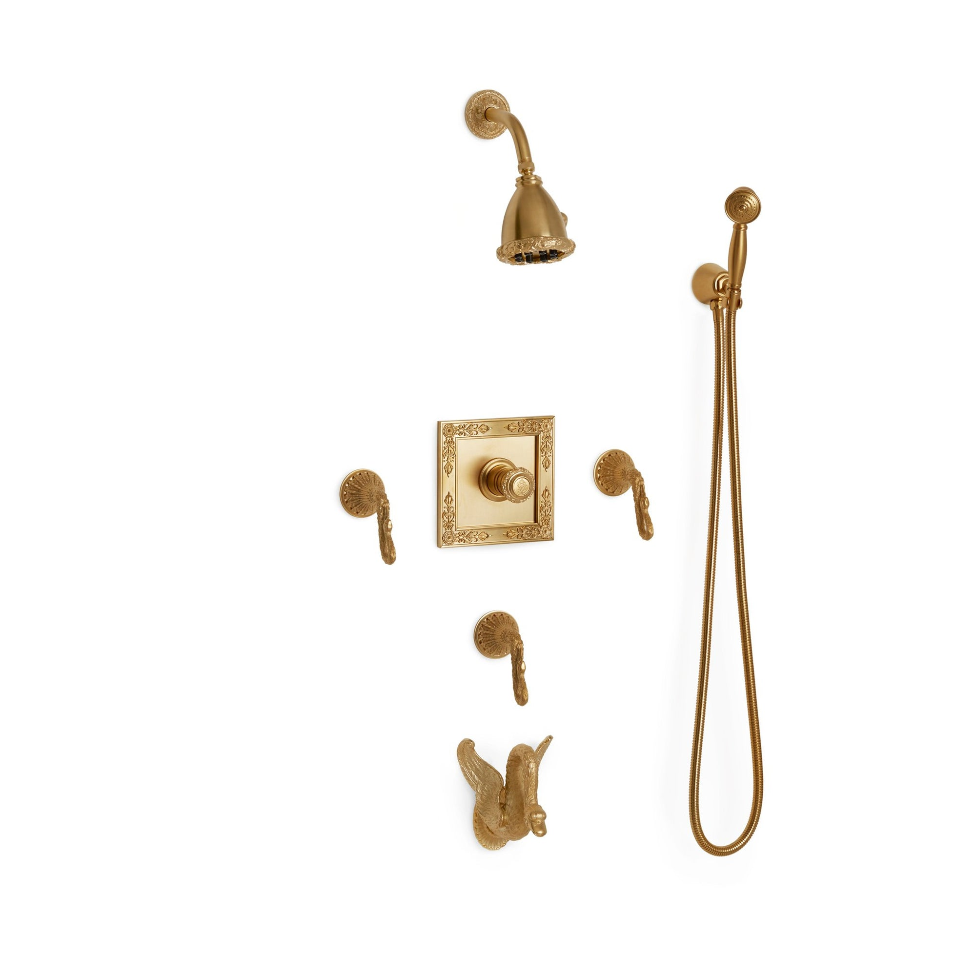 Sherle Wagner International Swan High Flow Thermostatic Shower and Tub System in Gold Plate metal finish