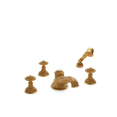 0918DTS819-GP Sherle Wagner International Acanthus Knob Deck Mount Tub Set with Hand Shower in Gold Plate metal finish