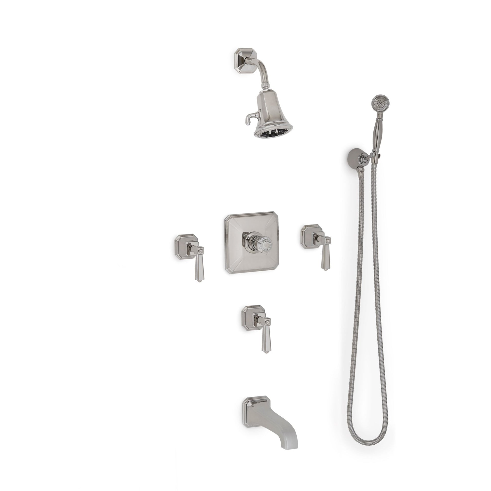 Sherle Wagner International Harrison Lever High Flow Thermostatic Shower and Tub System in Polished Chrome metal finish