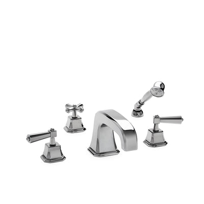 0980DTS824S-CP Sherle Wagner International Harrison Lever Deck Mount Tub Set Small with Hand Shower in Polished Chrome metal finish