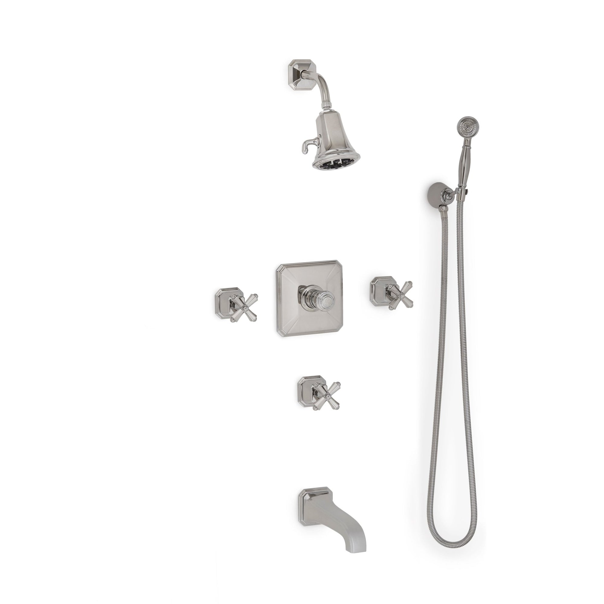 Sherle Wagner International Harrison Cross Handle High Flow Thermostatic Shower and Tub System in Polished Chrome metal finish