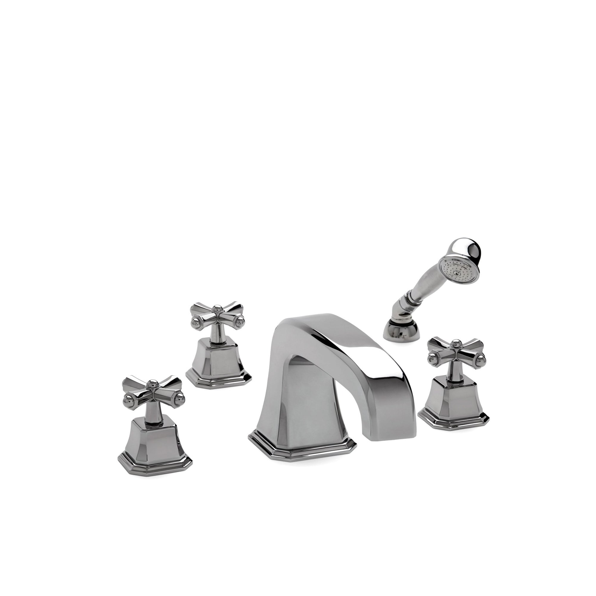 0981DTS824L-CP Sherle Wagner International Harrison Cross Handle Deck Mount Tub Set Large with Hand Shower in Polished Chrome metal finish