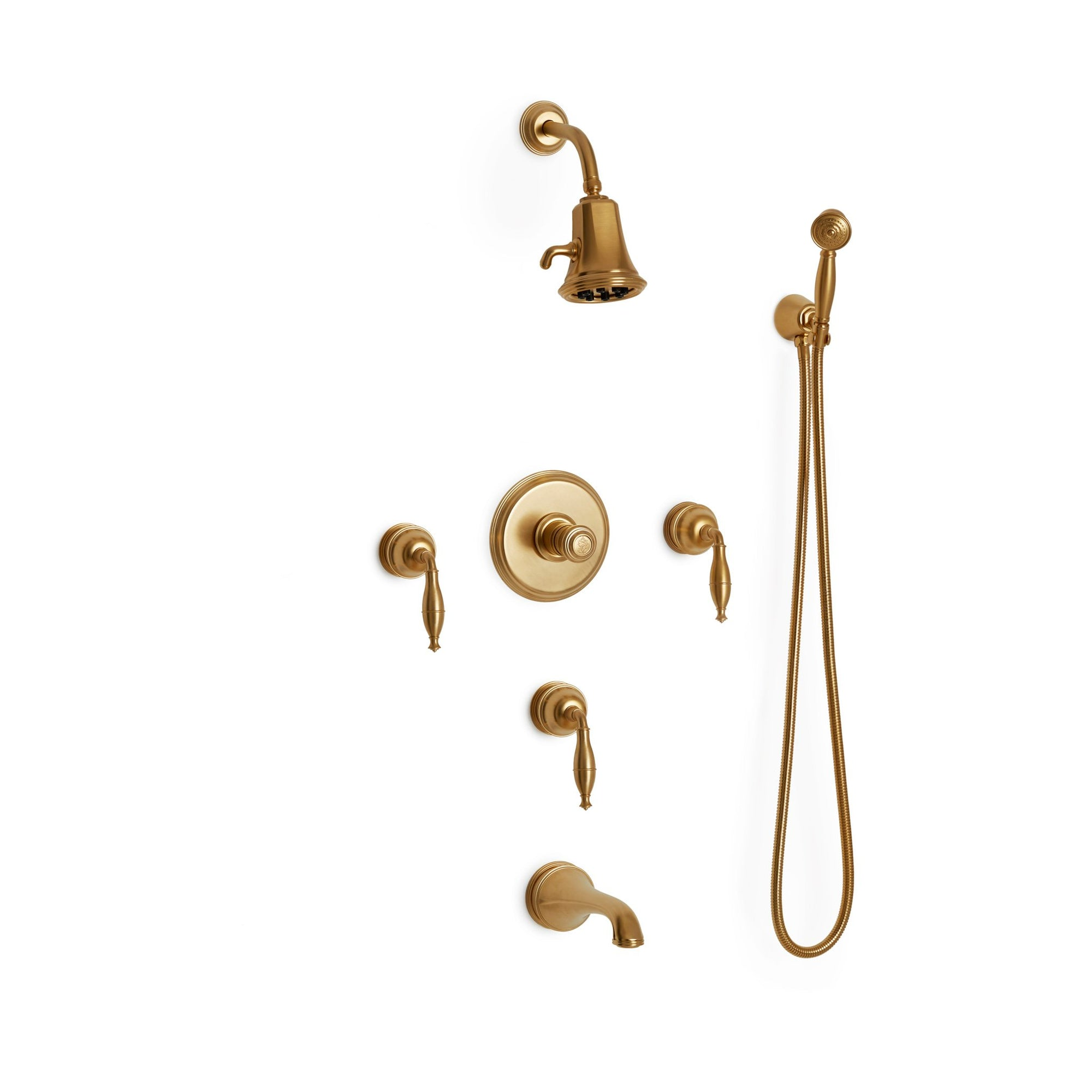 Sherle Wagner International Grey Series I Lever High Flow Thermostatic Shower and Tub System in Gold Plate metal finish
