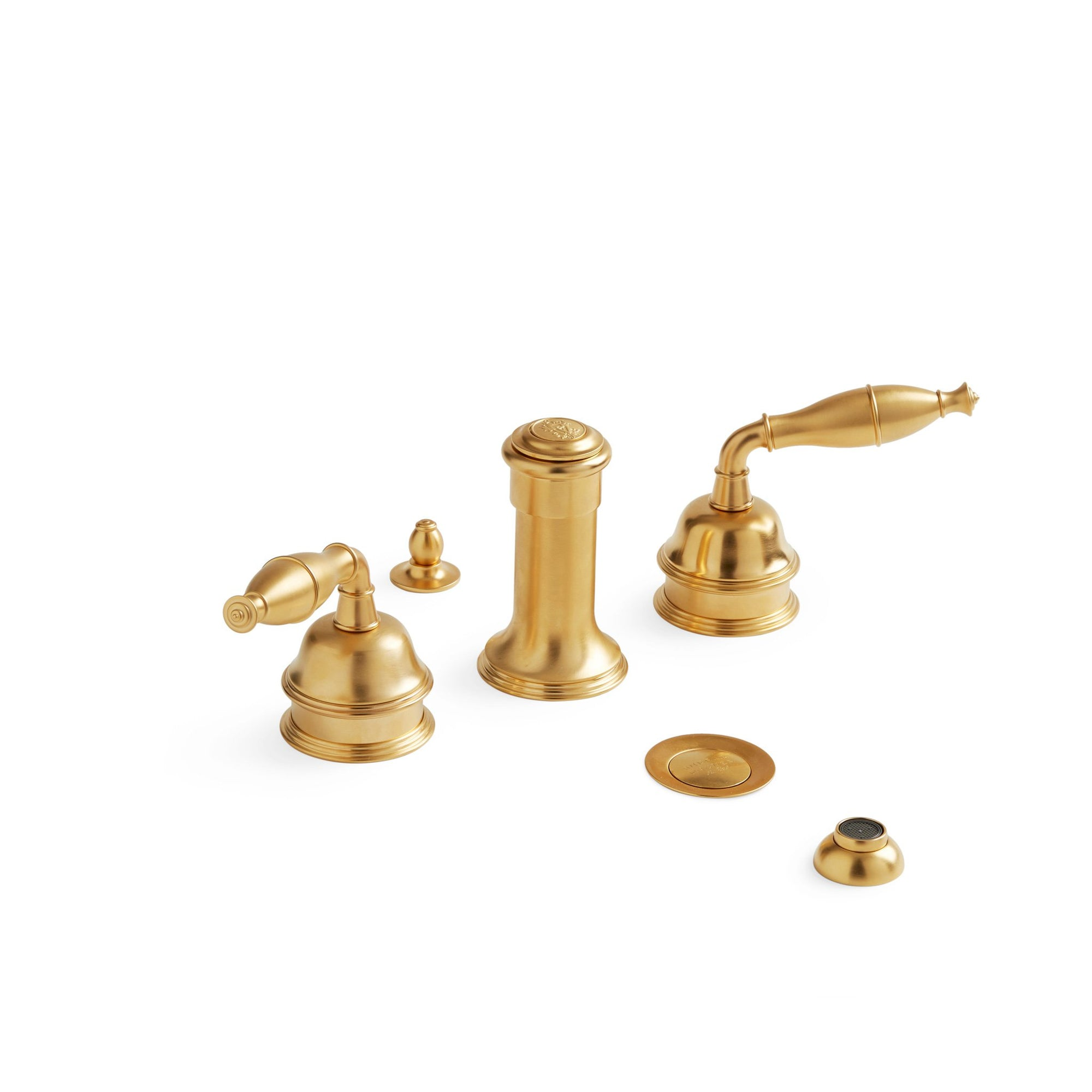 0990BDT-4H-GP Sherle Wagner International Grey Series I Lever Bidet Set in Gold Plate metal finish