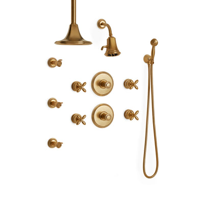 Sherle Wagner International Grey Series I Cross Handle High Flow Thermostatic Shower System in Gold Plate metal finish