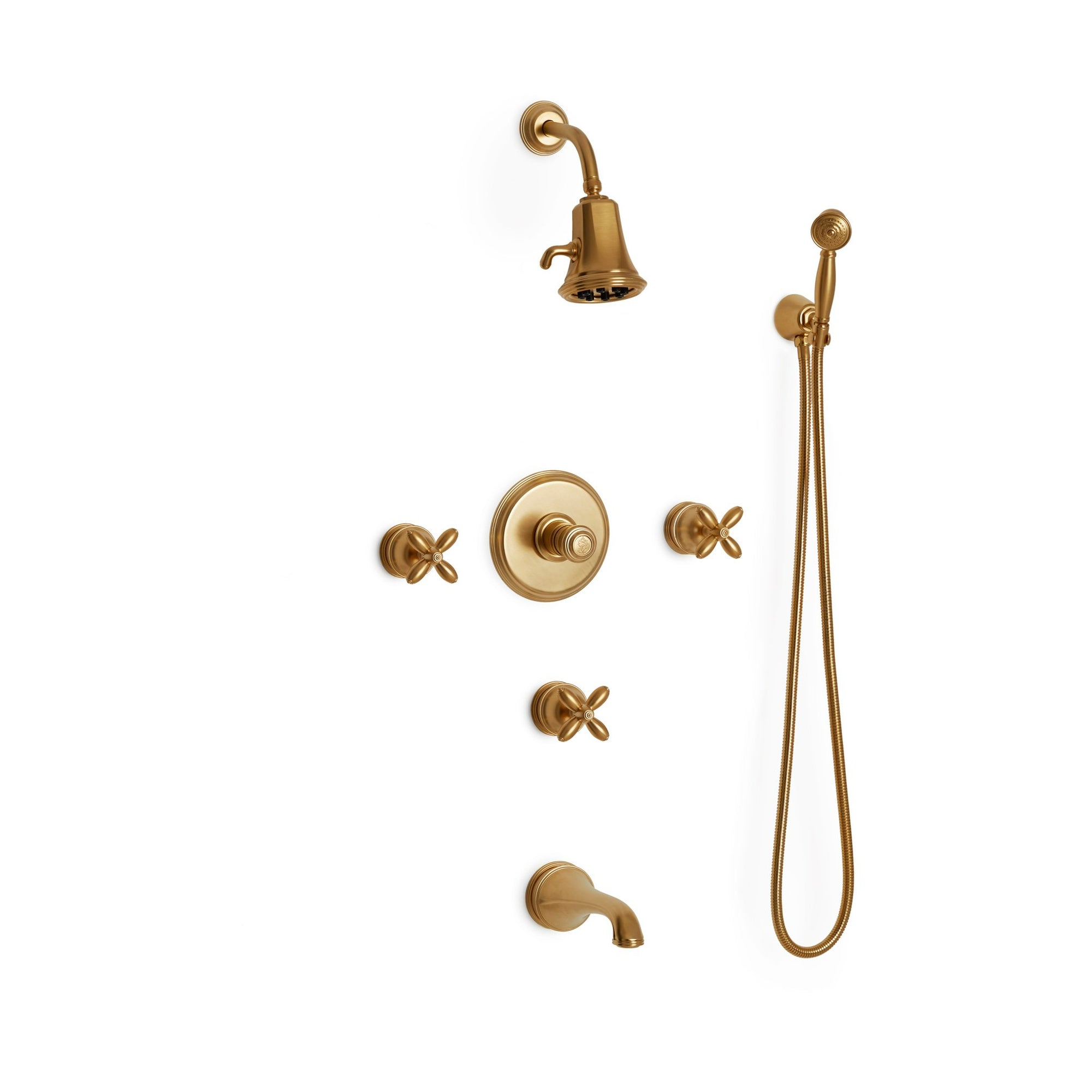Sherle Wagner International Grey Series I Cross Handle High Flow Thermostatic Shower and Tub System in Gold Plate metal finish