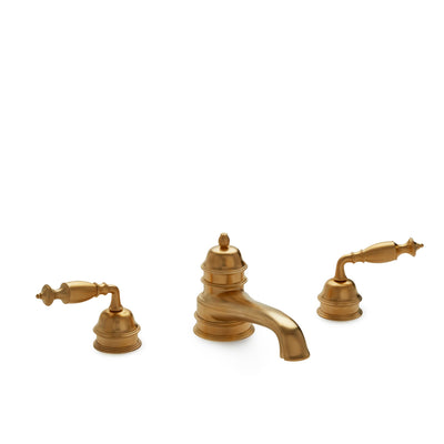 0992DKT825-GP Sherle Wagner International Grey Series II Lever Deck Mount Tub Set in Gold Plate metal finish