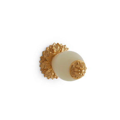 1001-HNOX-GP Sherle Wagner International Honey Onyx Insert Leaves Cabinet & Drawer Knob in Gold Plate metal finish