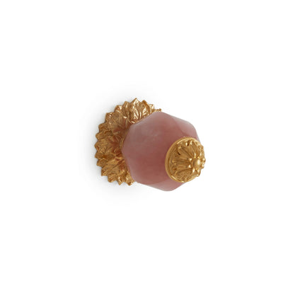 1001-RSQU-GP Sherle Wagner International Rose Quartz Insert Leaves Cabinet & Drawer Knob in Gold Plate metal finish
