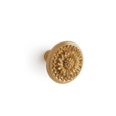 1021-13/4-GP Sherle Wagner International Daisy Cabinet & Drawer Knob in Gold Plate metal finish