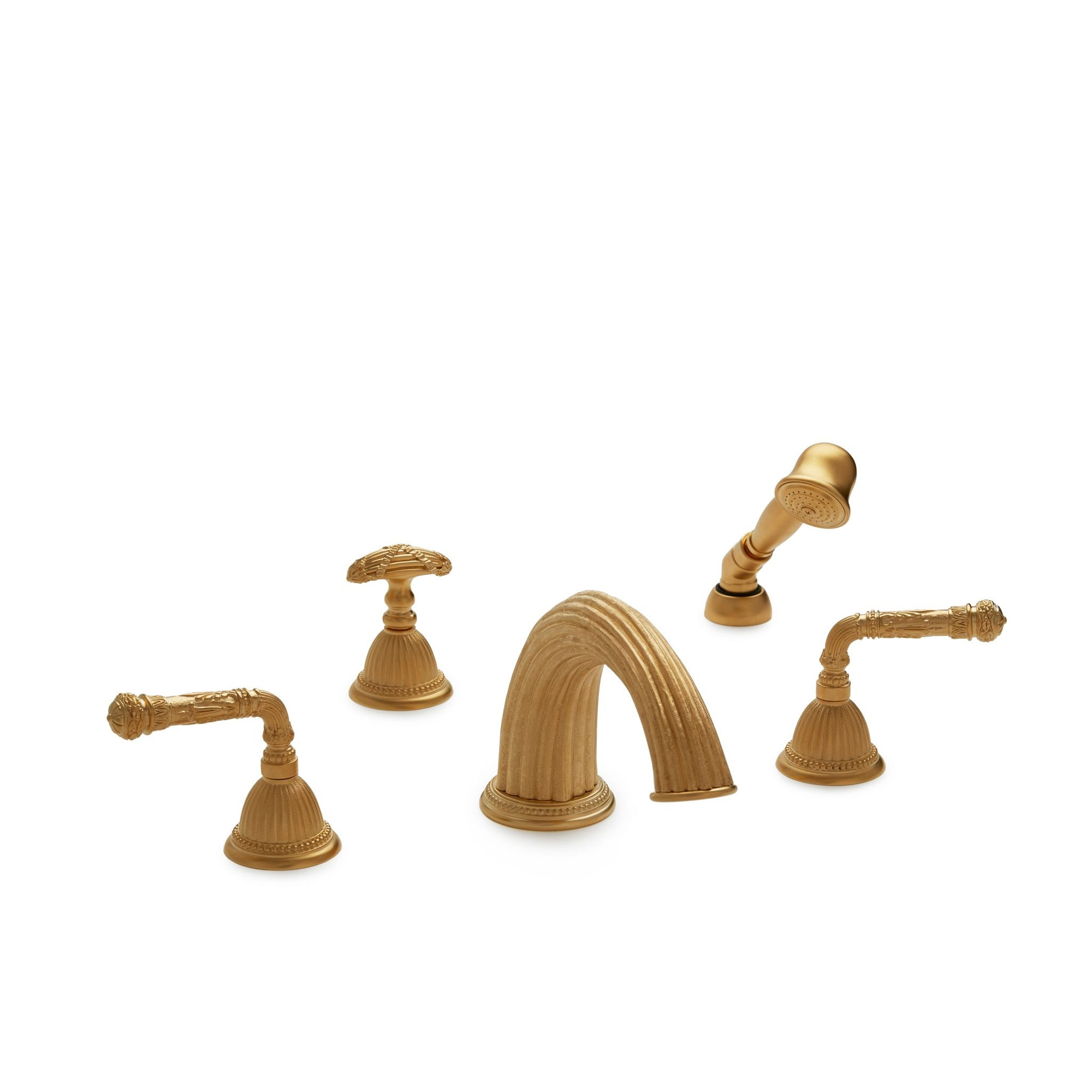 1025DTS821-GP Sherle Wagner International Empire Lever Deck Mount Tub Set with Hand Shower in Gold Plate metal finish