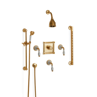 Sherle Wagner International Scalloped Ceramic High Flow Thermostatic Shower System in Gold Plate metal finish with White Glaze inserts