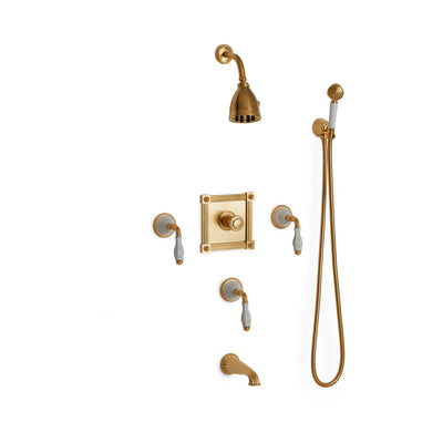 Sherle Wagner International Scalloped Ceramic High Flow Thermostatic Shower and Tub System in Gold Plate metal finish with White Glaze inserts