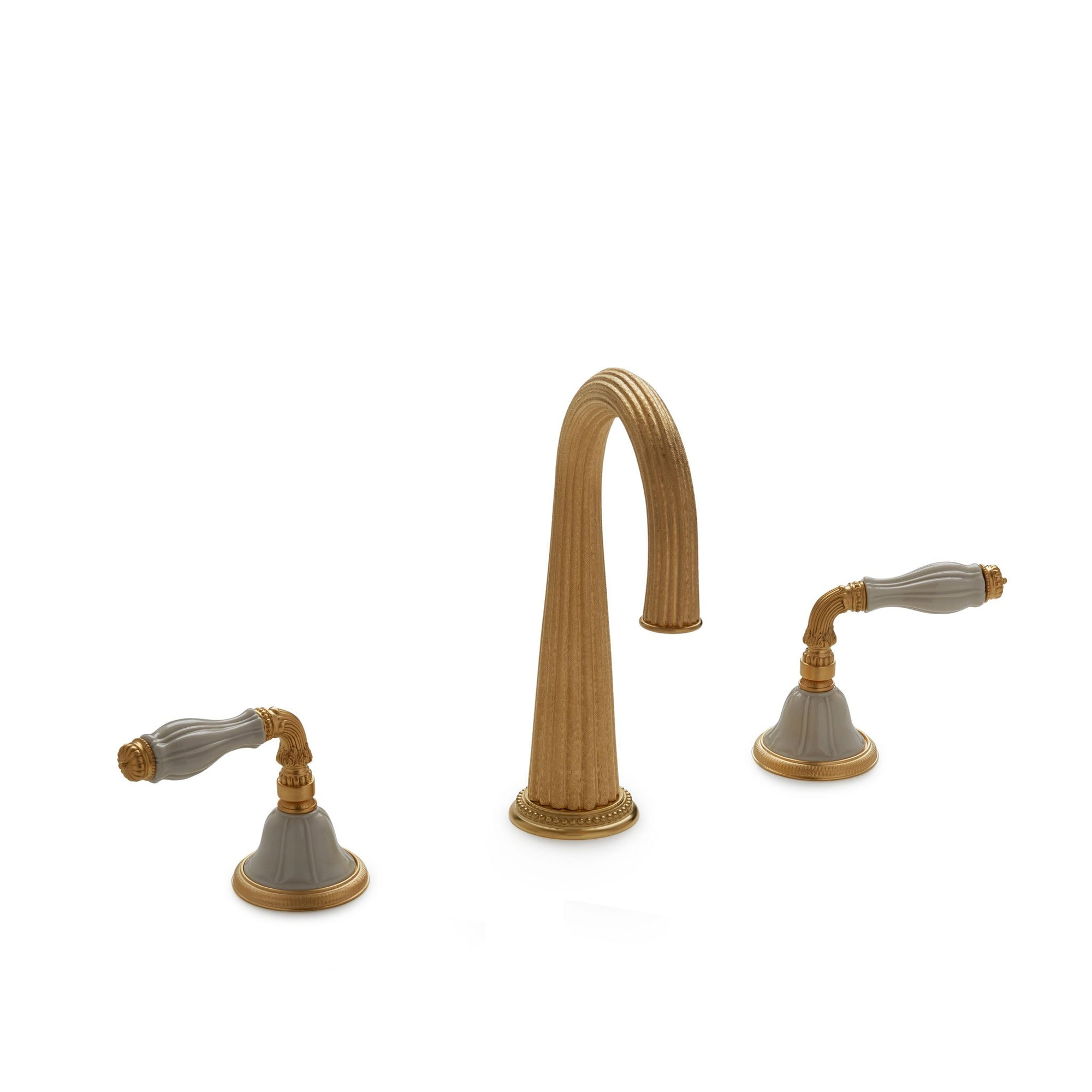 1029BAR821-03SD-GP Sherle Wagner International Scalloped Ceramic Fluted Lever Bar Set in Gold Plate metal finish with Sand Glaze inserts