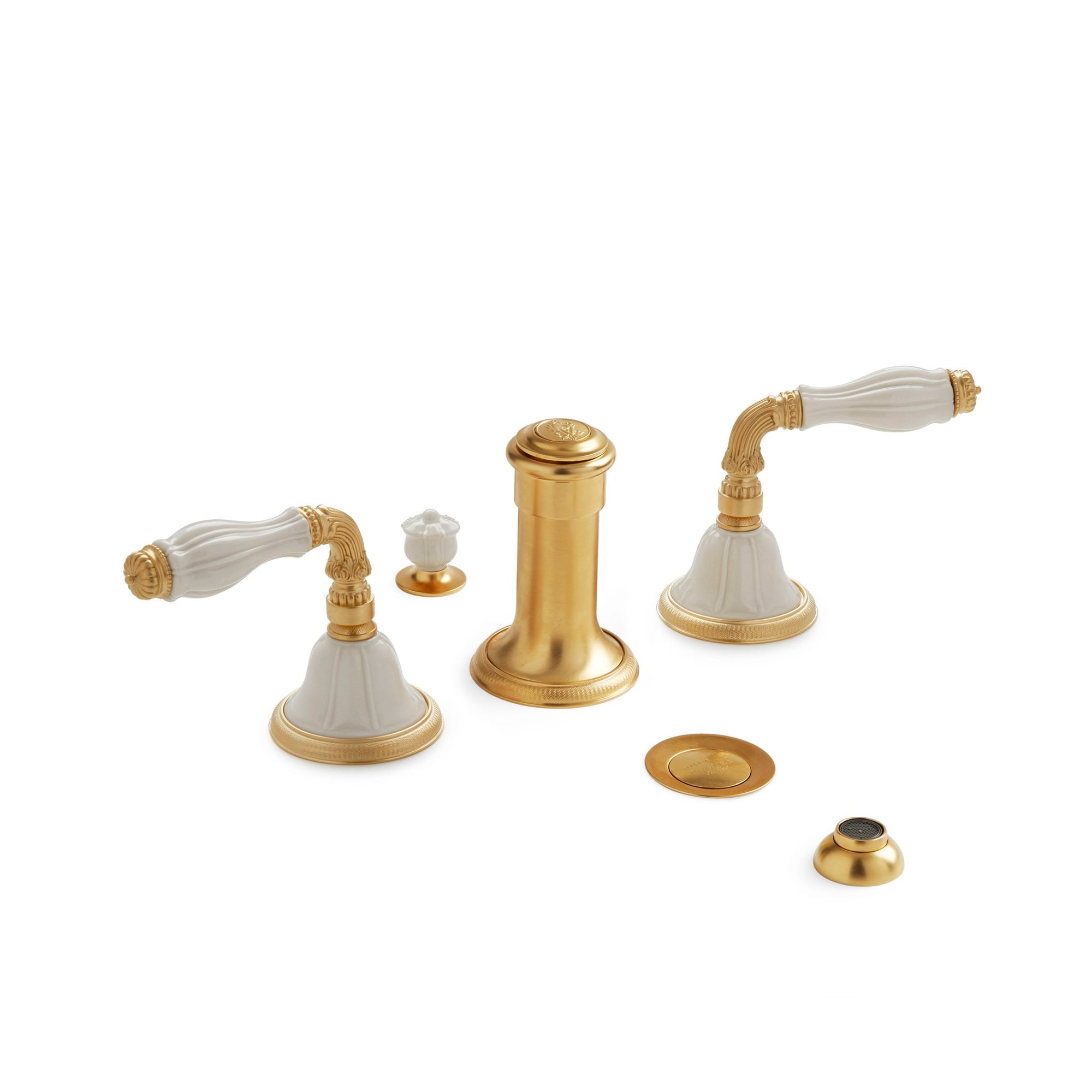 1029BDT-4H-03SD-GP Sherle Wagner International Scalloped Ceramic Fluted Lever Bidet Set in Gold Plate metal finish