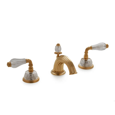 1029BSN813-RKCR-GP Sherle Wagner International Semiprecious Fluted Lever Faucet Set in Gold Plate metal finish with Rock Crystal inserts