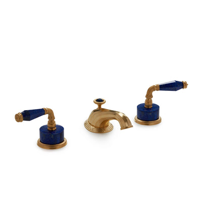 1029BSN818-LAPI-GP Sherle Wagner International Semiprecious Fluted Lever Faucet Set in Gold Plate metal finish with Lapis Lazuli Semiprecious inserts