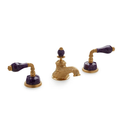 1029BSN819-AMET-GP Sherle Wagner International Semiprecious Fluted Lever Faucet Set in Gold Plate metal finish with Amethyst inserts