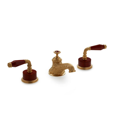 1029BSN819-JASP-GP Sherle Wagner International Semiprecious Fluted Lever Faucet Set in Gold Plate metal finish with Jasper Semiprecious inserts