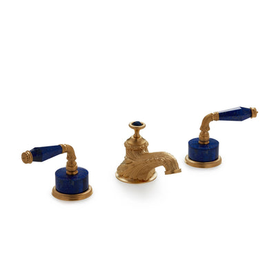 1029BSN819-LAPI-GP Sherle Wagner International Semiprecious Fluted Lever Faucet Set in Gold Plate metal finish with Lapis Lazuli Semiprecious inserts