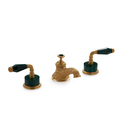 1029BSN819-MALA-GP Sherle Wagner International Semiprecious Fluted Lever Faucet Set in Gold Plate metal finish with Malachite Semiprecious inserts