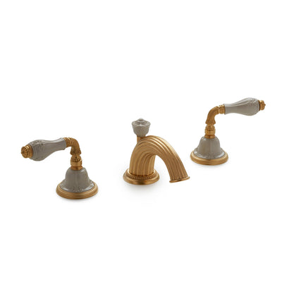 1029BSN821-04SD-GP Sherle Wagner International Provence Ceramic Fluted Lever Faucet Set in Gold Plate metal finish with Sand Glaze inserts