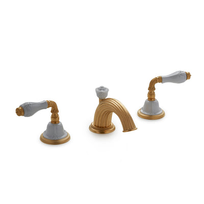 1029BSN821-04WH-GP Sherle Wagner International Provence Ceramic Fluted Lever Faucet Set in Gold Plate metal finish with White Glaze inserts