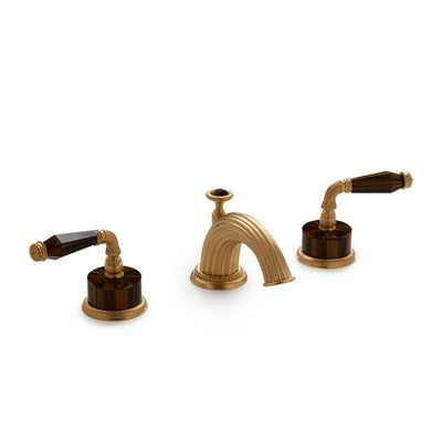 1029BSN821-BRTI-GP Sherle Wagner International Semiprecious Fluted Lever Faucet Set in Gold Plate metal finish with Brown Tiger Eye Semiprecious inserts