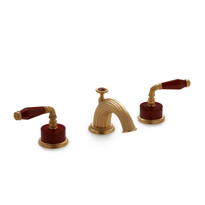 1029BSN821-JASP-GP Sherle Wagner International Semiprecious Fluted Lever Faucet Set in Gold Plate metal finish with Jasper Semiprecious inserts