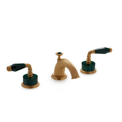 1029BSN821-MALA-GP Sherle Wagner International Semiprecious Fluted Lever Faucet Set in Gold Plate metal finish with Malachite Semiprecious inserts