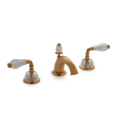 1029BSN821-RKCR-GP Sherle Wagner International Semiprecious Fluted Lever Faucet Set in Gold Plate metal finish with Rock Crystal inserts
