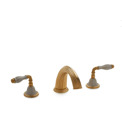 1029DKT813-03SD-GP Sherle Wagner International Scalloped Ceramic Fluted Lever Deck Mount Tub Set in Gold Plate metal finish with Sand Glaze inserts