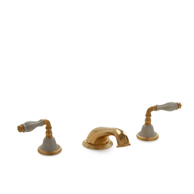 1029DKT818-03SD-GP Sherle Wagner International Scalloped Ceramic Fluted Lever Deck Mount Tub Set in Gold Plate metal finish with Sand Glaze inserts