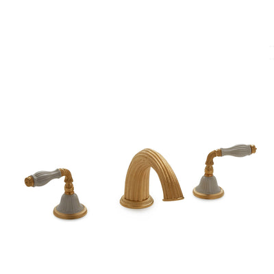 1029DKT821-03SD-GP Sherle Wagner International Scalloped Ceramic Fluted Lever Deck Mount Tub Set in Gold Plate metal finish with Sand Glaze inserts