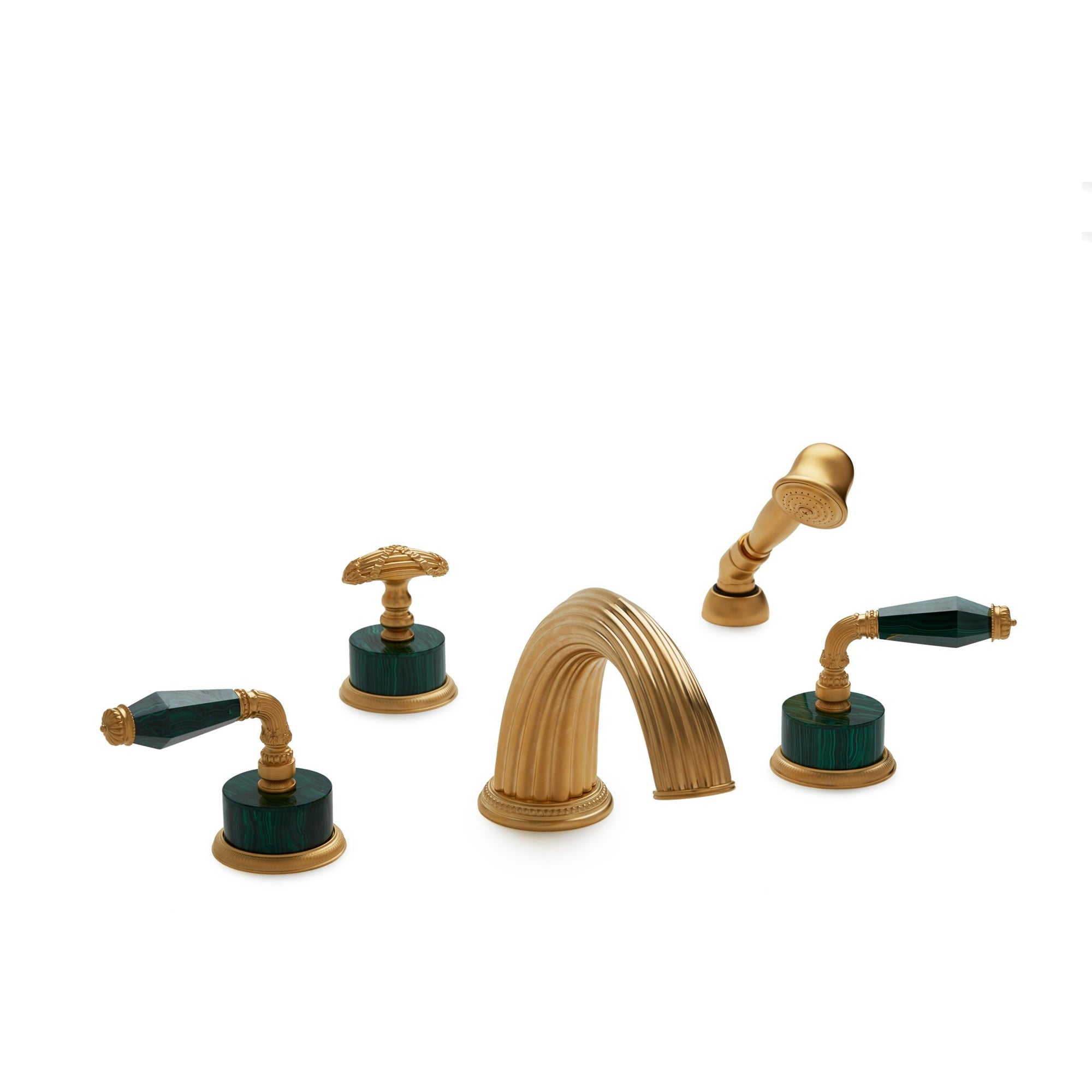 1029DTS813-MALA-GP Sherle Wagner International Semiprecious Fluted Lever Deck Mount Tub Set with Hand Shower in Gold Plate metal finish with Malachite Semiprecious inserts