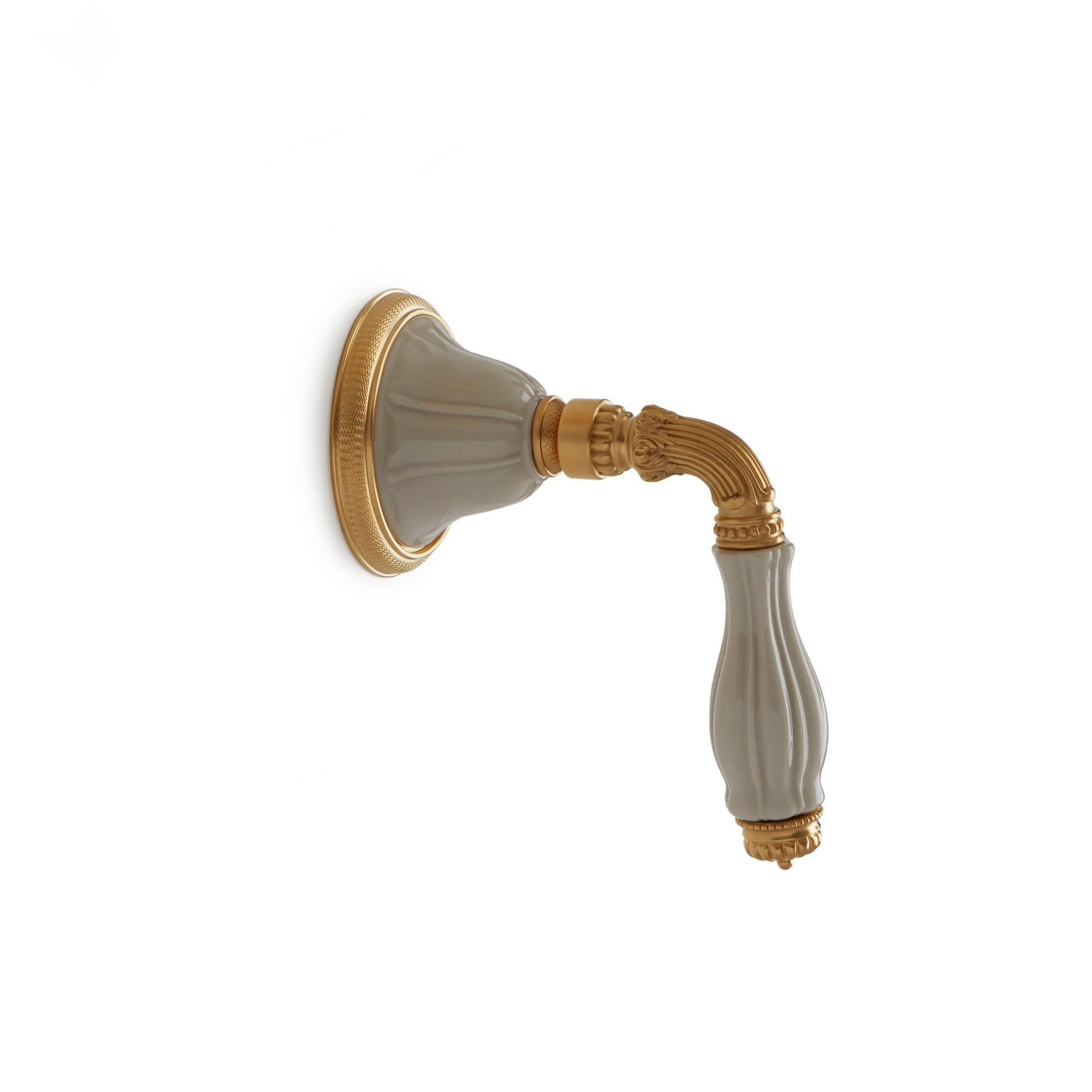 1029LV-ESC-03SD-GP Sherle Wagner International Scalloped Ceramic Fluted Lever Volume Control and Diverter Trim in Gold Plate metal finish with Sand Glaze inserts