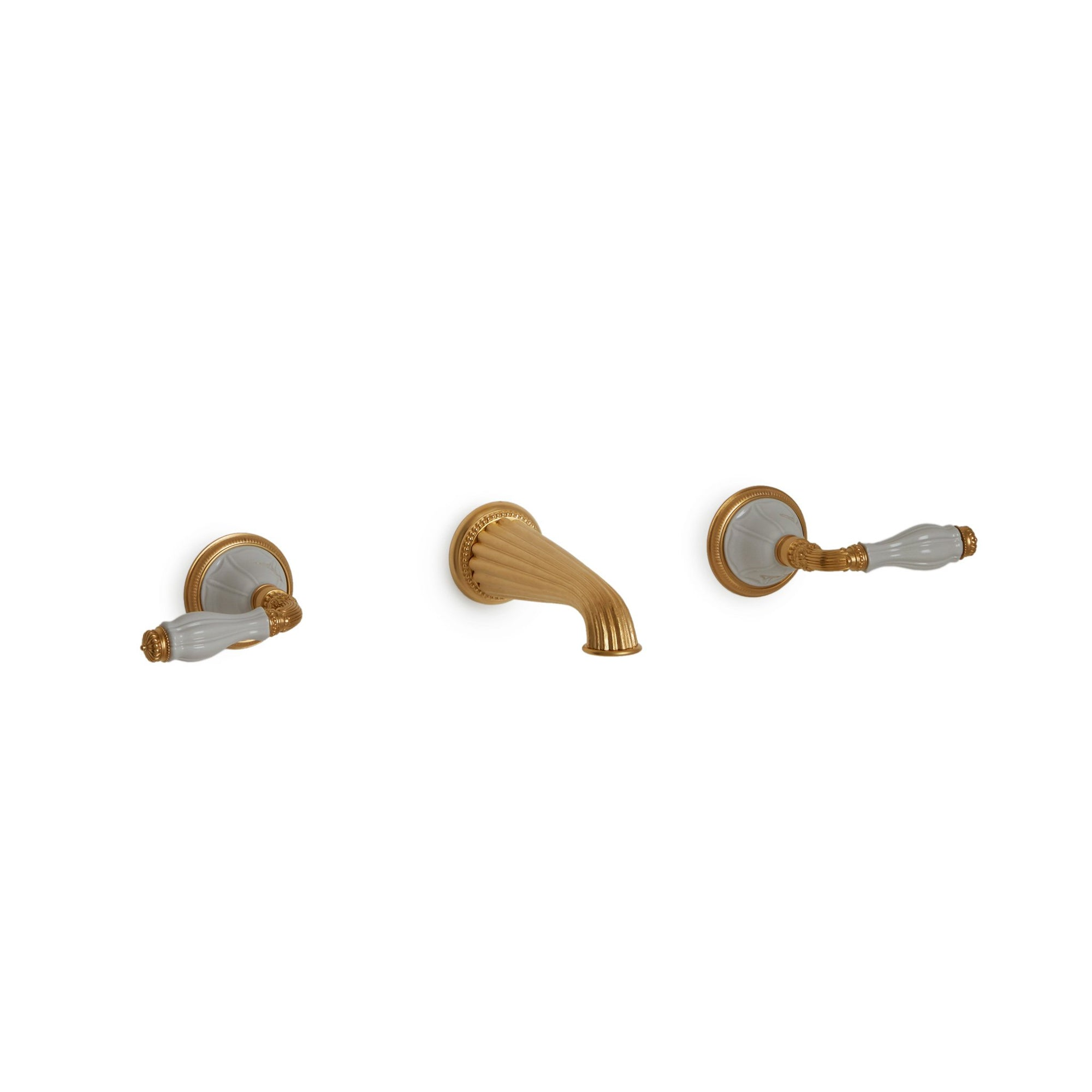 1029WBS821-03WH-GP Sherle Wagner International Scalloped Ceramic Fluted Lever Wall Mount Faucet Set in Gold Plate metal finish