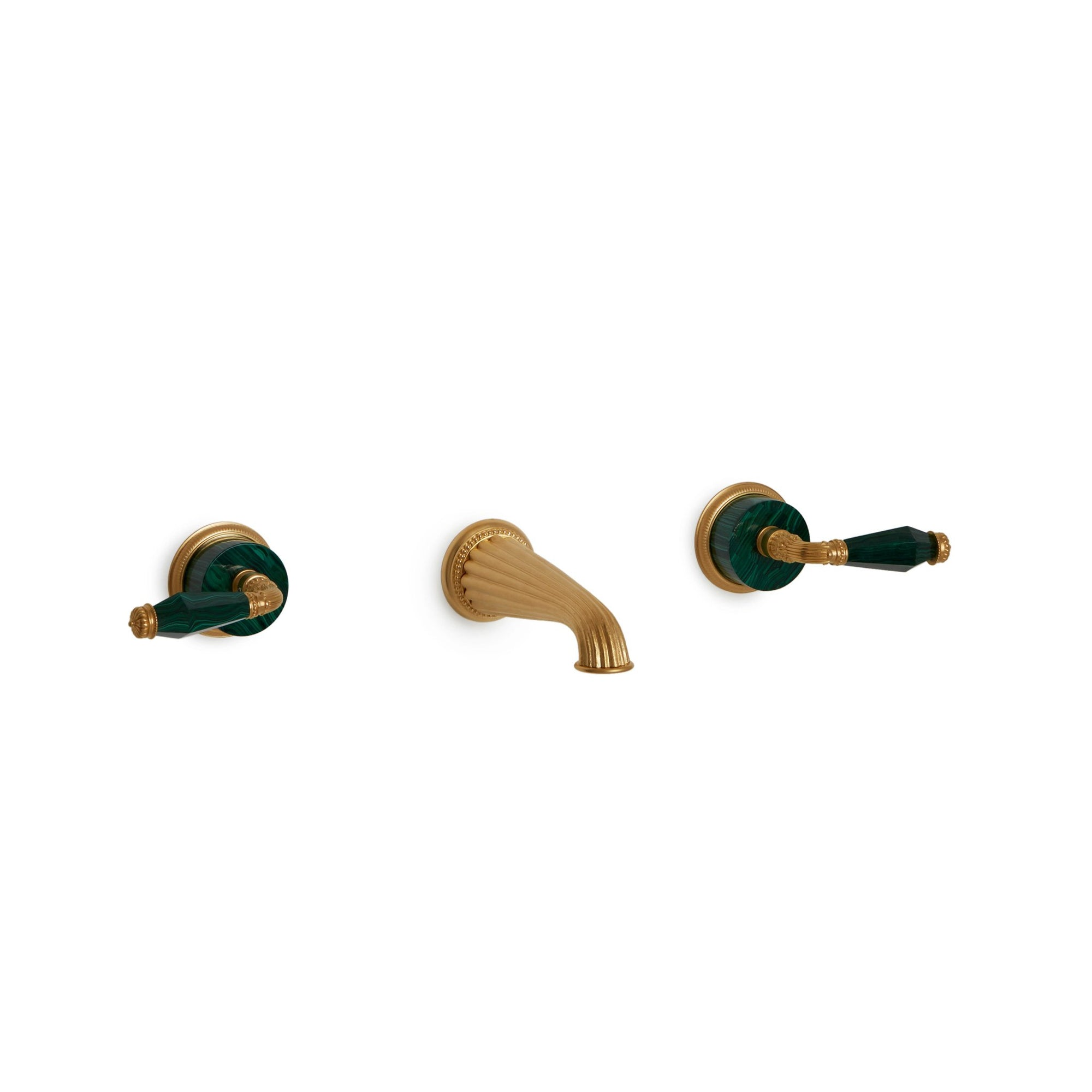 1029WBS821-MALA-GP Sherle Wagner International Semiprecious Knurled Knob Wall Mount Faucet Set in Gold Plate metal finish with Malachite inserts