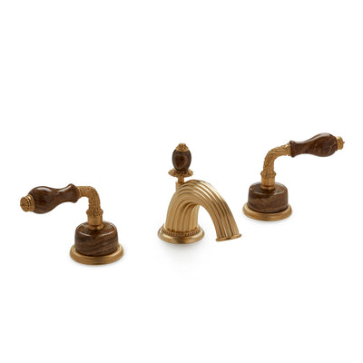 1030BSN813-BROX-GP Sherle Wagner International Onyx Laurel Lever Faucet Set in Gold Plate metal finish with Brown Onyx inserts