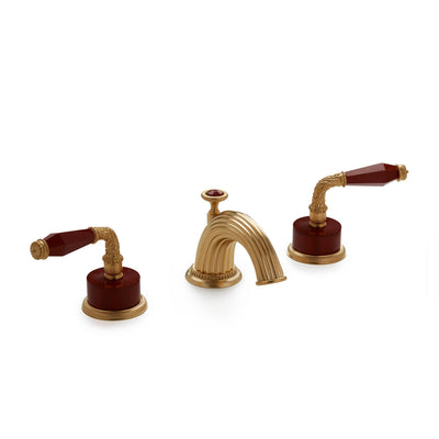 1030BSN813-JASP-GP Sherle Wagner International Semiprecious Laurel Lever Faucet Set in Gold Plate metal finish with Jasper Semiprecious inserts