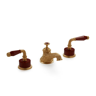 1030BSN819-JASP-GP Sherle Wagner International Semiprecious Laurel Lever Faucet Set in Gold Plate metal finish with Jasper Semiprecious inserts