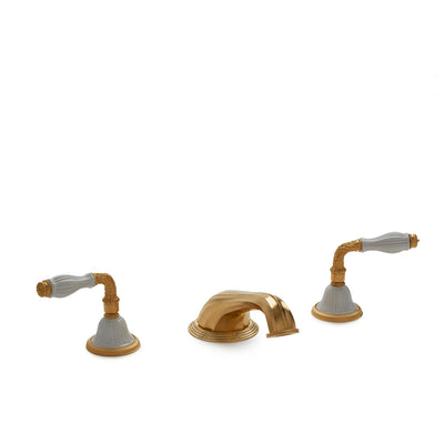 1030DKT818-03WH-GP Sherle Wagner International Scalloped Ceramic Laurel Lever Deck Mount Tub Set in Gold Plate metal finish with White Glaze inserts