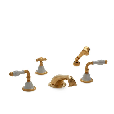 1030DTS818-03WH-GP Sherle Wagner International Scalloped Ceramic Laurel Lever Deck Mount Tub Set with Hand Shower in Gold Plate metal finish with White Glaze inserts